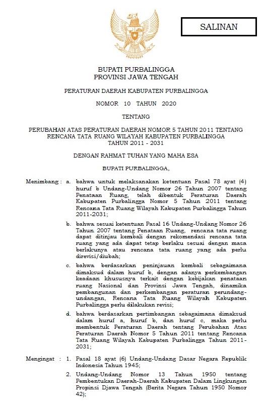 Perda Nomor 10 Tahun 2020 Tentang Perubahan Atas Peraturan Daerah Nomor 5 Tahun 2011 Tentang Rencana Tata Ruang Wilayah Kabupaten Purbalingga  Tahun 2011 - 2031